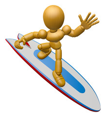 3D Wood Doll Mascot to play a surfboard.. 3D Wooden Ball Jointed