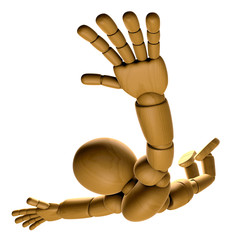 3D Wood Doll Mascot is to play skydiving. 3D Wooden Ball Jointed