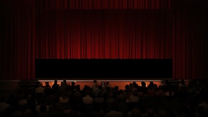 Crowd Applauds Theatre - Empty Stage Alpha Keyed