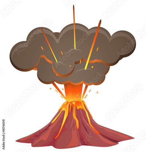 Volcano blowing up with lava flowing down image - 80766541