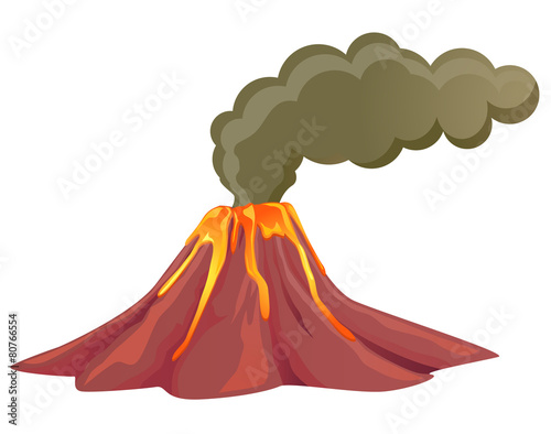 Leinwanddruck Bild Smoking volcano with lava flowing down
