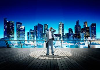 Spotlight Businessman Weary Contemplation Cityscape Concept