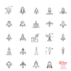 Rocket icons, set sketches, doodles