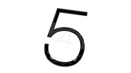 Stylish countdown from 9 to 0, black glossy digits on white