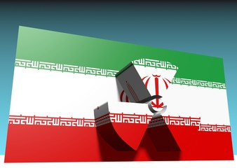 iran flag with nuclear danger sign