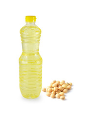vegetable oil in a plastic bottler on white background