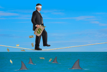 Financial Risk Success Plan Blindfolded Man Walking Tightrope