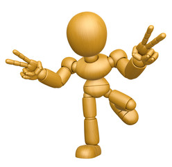 3D Wood Doll Mascot is victory gestures of both hands. 3D Wooden