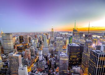 New York City Manhattan buildings skyline sunset