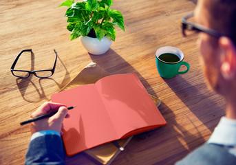 Man Sketch Working Writing Idea Analysing Concept