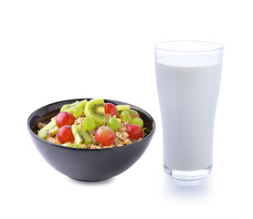 glass of milk and Healthy breakfast with muesli