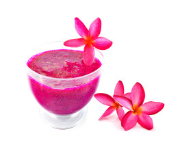 frangipani flower and Red flesh dragon fruit smoothie