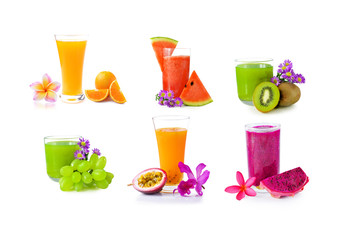 fruits  juice on white background