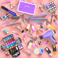 Working table of beautician