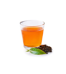Glass Cup Tea with green leaves, Isolated on White Background