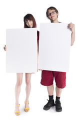 Smiling Young Couple Holding Empty Card Boards