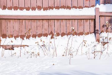 Fresh snow is  melting on the sun heated wood fence