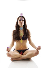 Beautiful girl in lotus position.