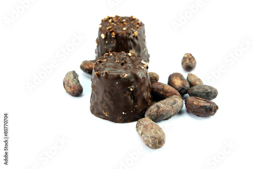 Fotobehang Koffiebonen rochers au chocolat