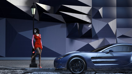 Nachtschwärmer mit Sportwagen