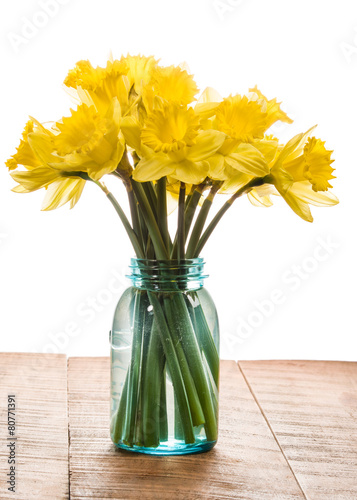 Plexiglas Narcis Bouquet of yellow daffodil flowers in a jar