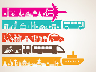 world travel by different kinds of transport, landmarks set
