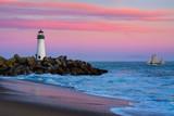 Walton Lighthouse in Santa Cruz, California at sunset