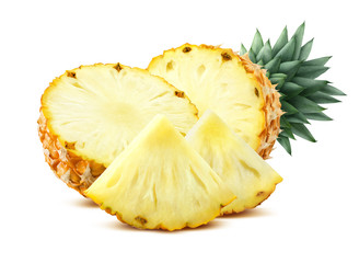 Pineapple pieces isolated on white background flat composition