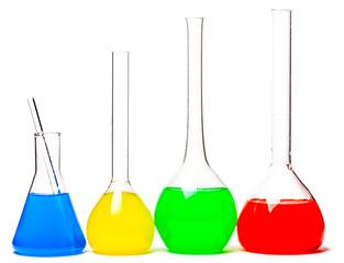 set of glass flasks