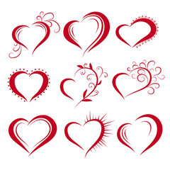 Hearts in a creative style