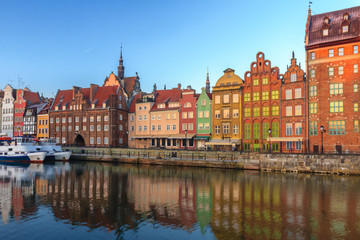 Dawn view across Polish Motlawa river on old town of Gdansk