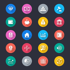 Business and investment simple color icons