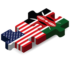 USA and Kenya Flags in puzzle