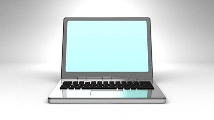 Front View Of Laptop On White Background
