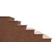 Granitaußentreppe aus rosa Granit vor weißem Hintergrund - 80773344