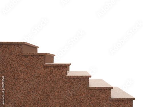 Fotobehang Trappen Granitaußentreppe aus rosa Granit vor weißem Hintergrund