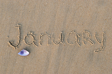 Calendar on sand.