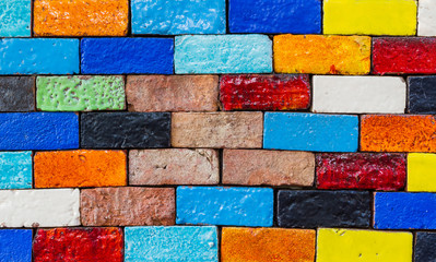Old colourful brick, wall texture background.