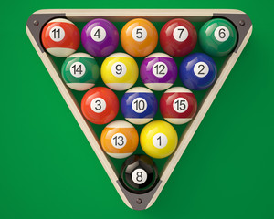 Billiard balls in triangle on green billiard table