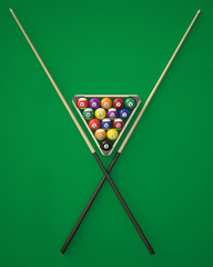 Billiard balls in a triangle with cues