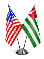 USA and Abkhazia - Miniature Flags.