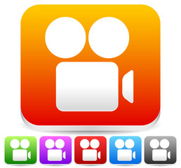 Bright Colorful Icons with White Camera Symbol. Set of 6 Colors.