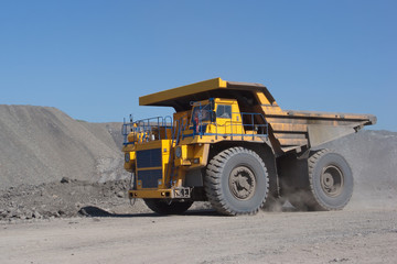 Coal mining. Yellow mining truck.