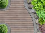 Fototapety Gartenarchitektur Detail von oben mit Steinbeet