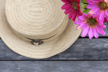 Vintage style hat and flower background