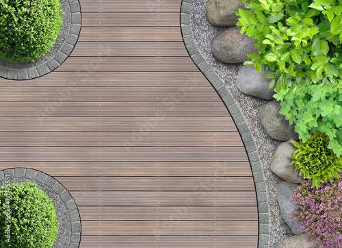 Staande foto Tuin Gartenarchitektur Detail von oben mit Steinbeet
