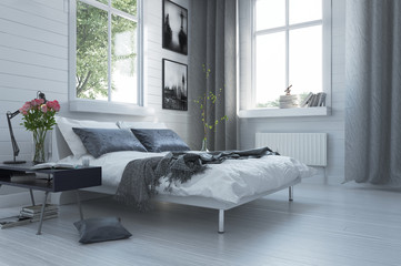 Luxury grey and white modern bedroom interior