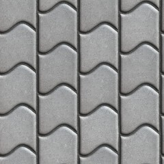 Gray Paving Slabs of the Wavy Form.