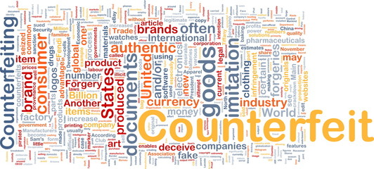Counterfeit background concept wordcloud