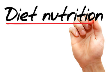 Hand writing Diet nutrition with marker, health concept